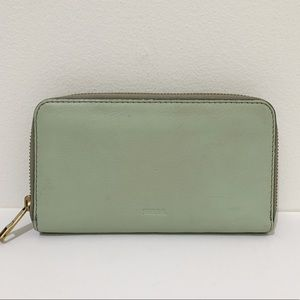 Fossil Leather Zip Around Wallet Mint Green